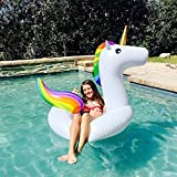 NOBBING Giant-Inflatable Rainbow Unicorn Pool Ring Swim Tube Inflatable Deluxe Unicorn Pool Float , Fun Beach Floaties, Swim Party Toys, Pool Island, Summer Pool Raft Lounge for Adults & Kids (Adult)