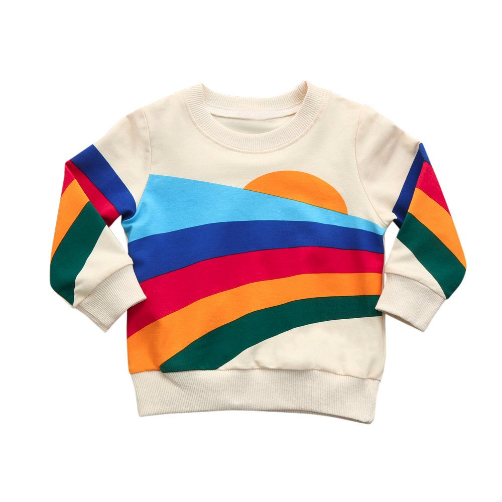 Zycshang Newborn Infant Baby Boy Girl Long Sleeve Fashion Cute Rainbow Tops Sweatshirt Pullover Outfits Comfortable Soft Children'S Suit
