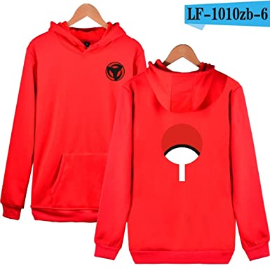 WEEKEND SHOP Hoodie Naruto Hoodies Sweatshirts Uchiha Syaringan Hooded Men Hokage Ninjia Men Red