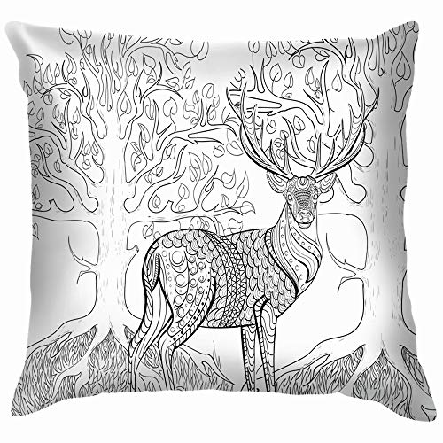 Hand Drawn Ink Coloring Book Animals Wildlife Nature Cotton Throw Pillow Case Cushion Cover Home Office Decorative, Square 26X26 Inch