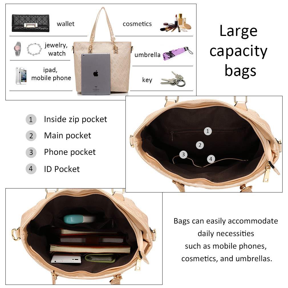 Pahajim dam handväskor 4 stycken set dam väska designer mode dam handväska mode ryggsäck damhandväska väska svart
