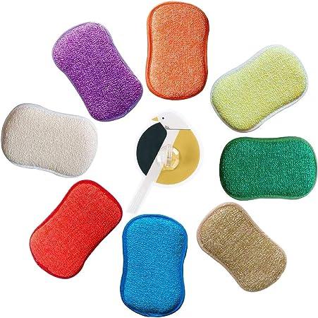 AUERVO Lot de 5 /éponges /à r/écurer Double Action en Microfibre antibact/ériennes et r/ésistantes pour Nettoyer la Vaisselle avec 2 Crochets adh/ésifs