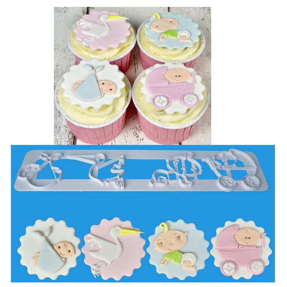 The Easyist Baby Shower Serise Cookie Cutter Set,Include Baby Stroller Crawling Baby Bird Baby Bag for Cup cake Decoration cupcake topper