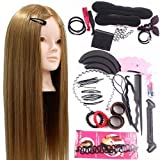 Neverland Beauty 24inch 50% Real Hair Training Head Hairdressing Mannequin Head With Makeup Function + Braid Set