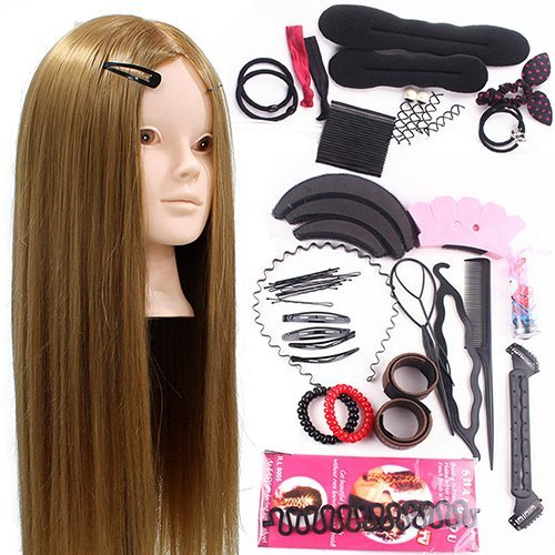 Neverland Beauty 24inch 50% Real Hair Training Head Hairdressing Mannequin Head With Makeup Function + Braid (Style Head Kit)