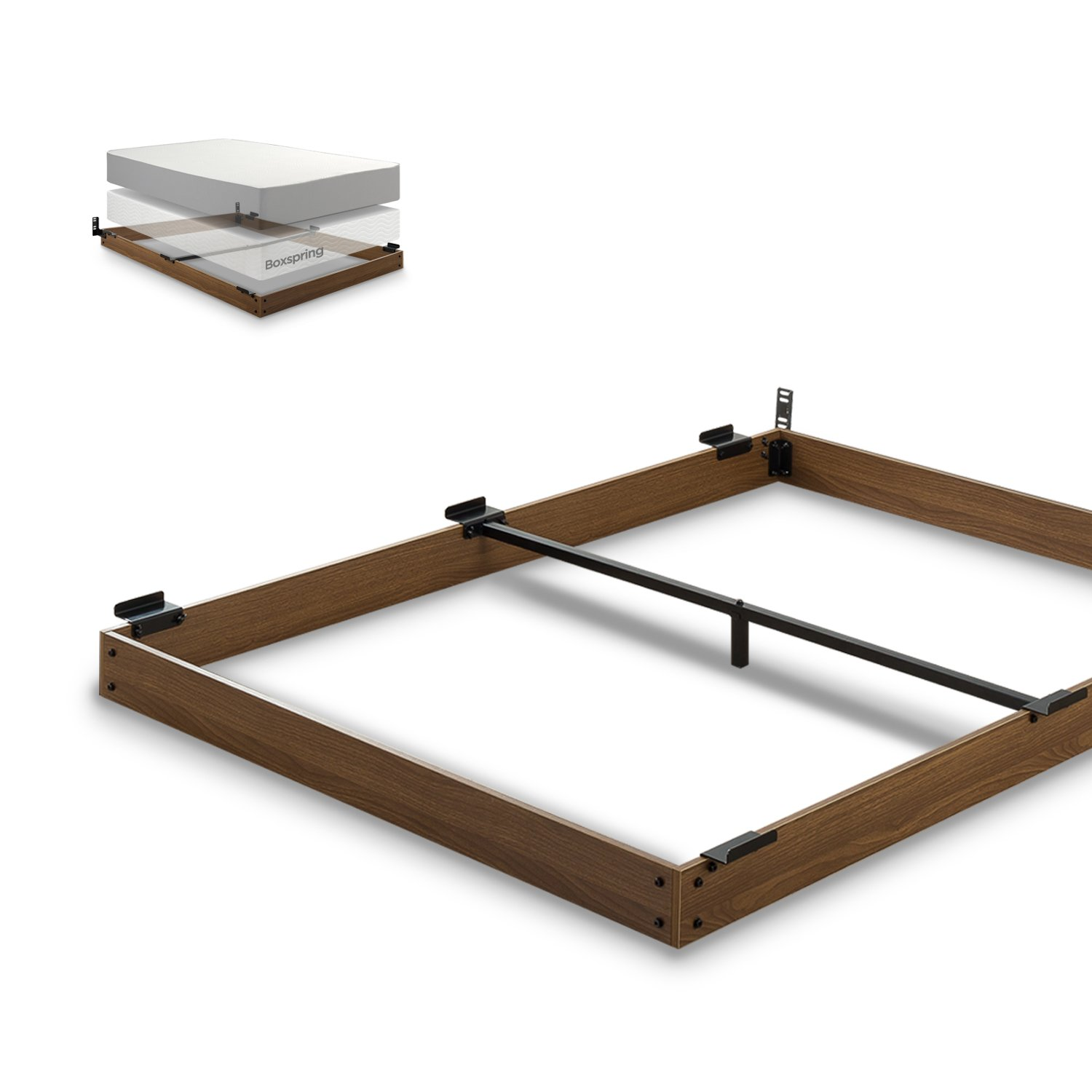 Zinus 5 Inch Wood Bed Frame for Box Spring & Mattress Set, Keep Pets from Beneath Your Bed, King