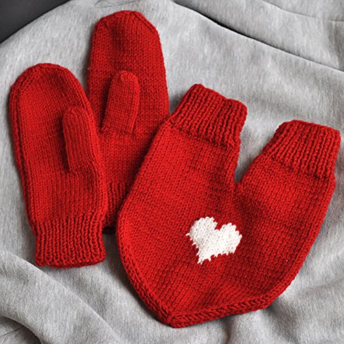 Handmade Mittens Crochet Double Glove Handknitted Red Mittens with white heart