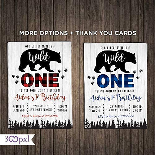 Wild One Birthday Boy Invitation Tribal First Rustic Kraft Buffalo Plaid Trees Bear Party 1st