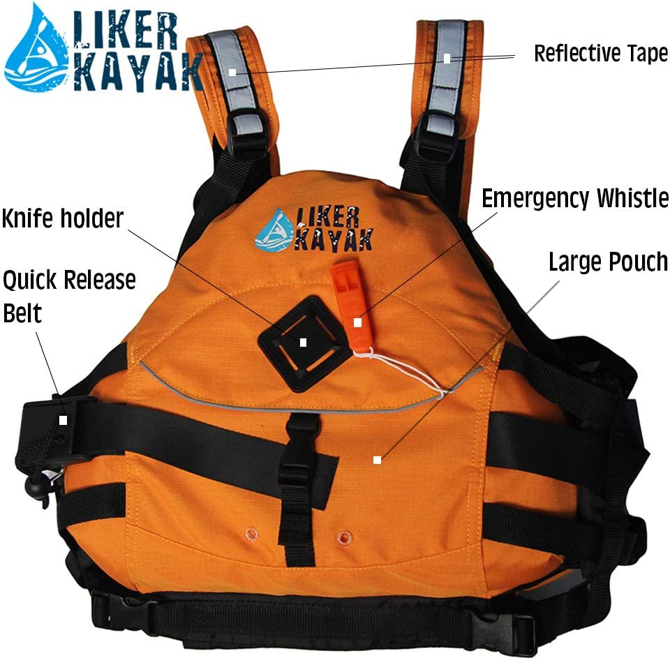 Canoe Life Jacket Personal Flotation Device Adult Water Sport Swim Activities Medium Whitewater Kayak Rescue PFD