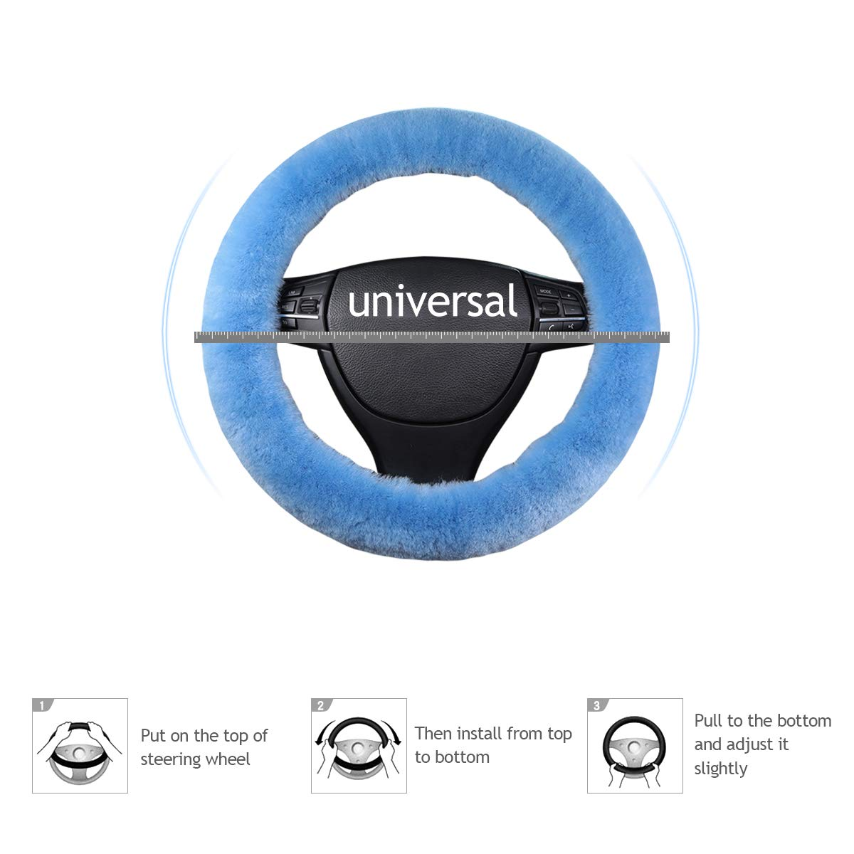 Gris Azul Ergocar Lana Pura Funda para Volante de Coche Suave Universal Antideslizante Invierno C/álido Protector del Volante del Coche