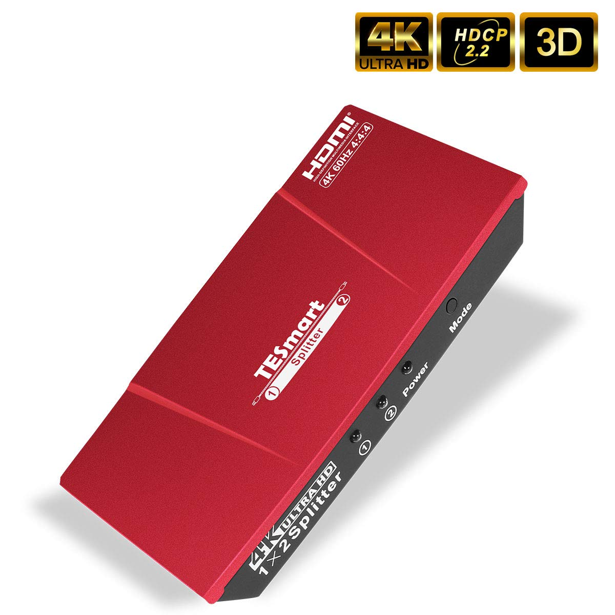 TESmart HDMI 2.0 Splitter 1x2 4K@60Hz 4:4:4 Powered 1 in 2 Out HDMI Splitter for Dual Monitor Ultra HD 4K@60Hz 4:4:4 Compatible with PC PS3 PS4 Xbox-HDMI 2.0, HDCP 2.2, HDR, RGB, YUV, 18 Gbps (Red)