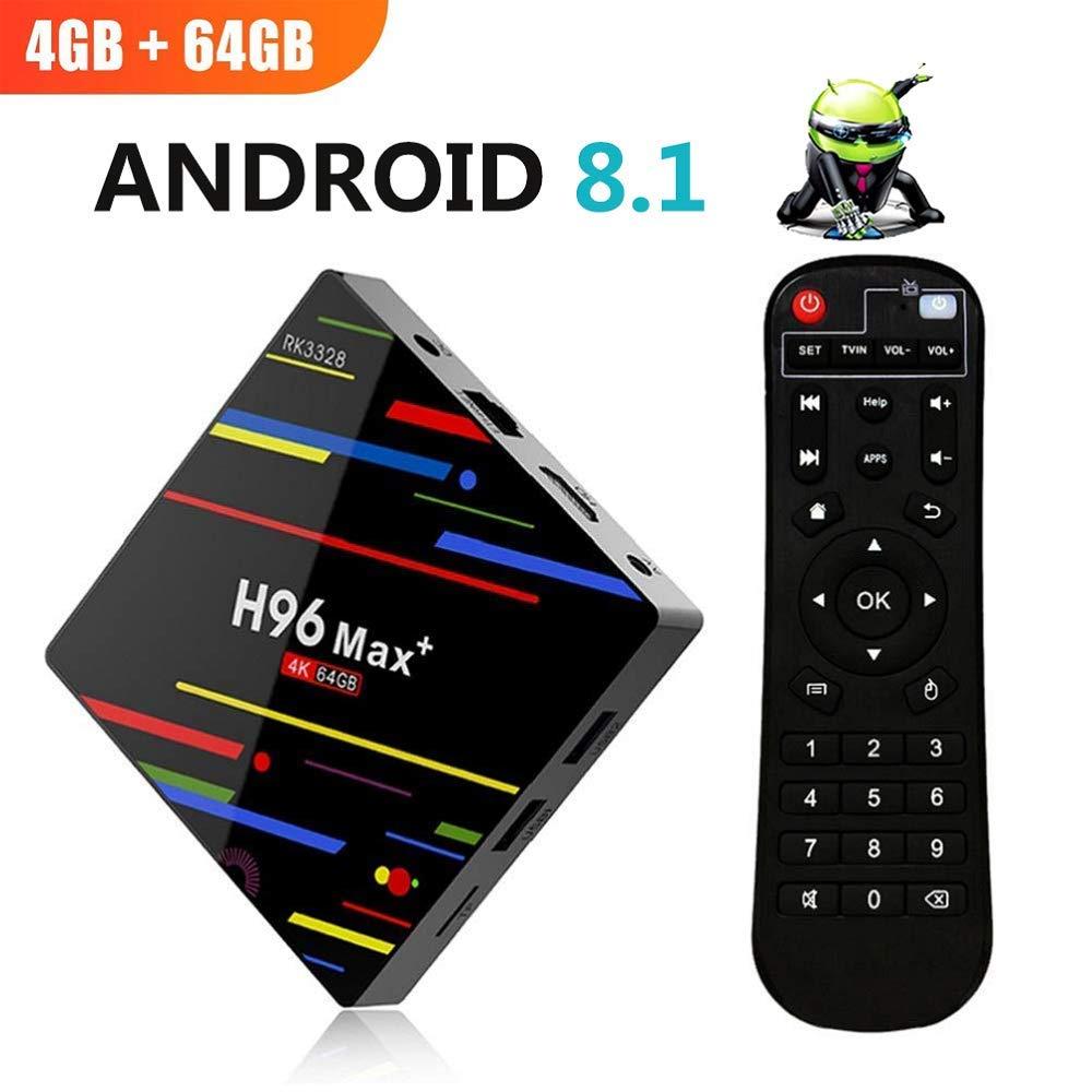 [2018 Latest Android 8.1 OS] H96 Max Plus 4GB 64GB Smart TV Box, RK3328 Quad-Core 4K HD with 2.4G/5G Dual WiFi/ H.265/ USB 3.0/ Bluetooth ESoku