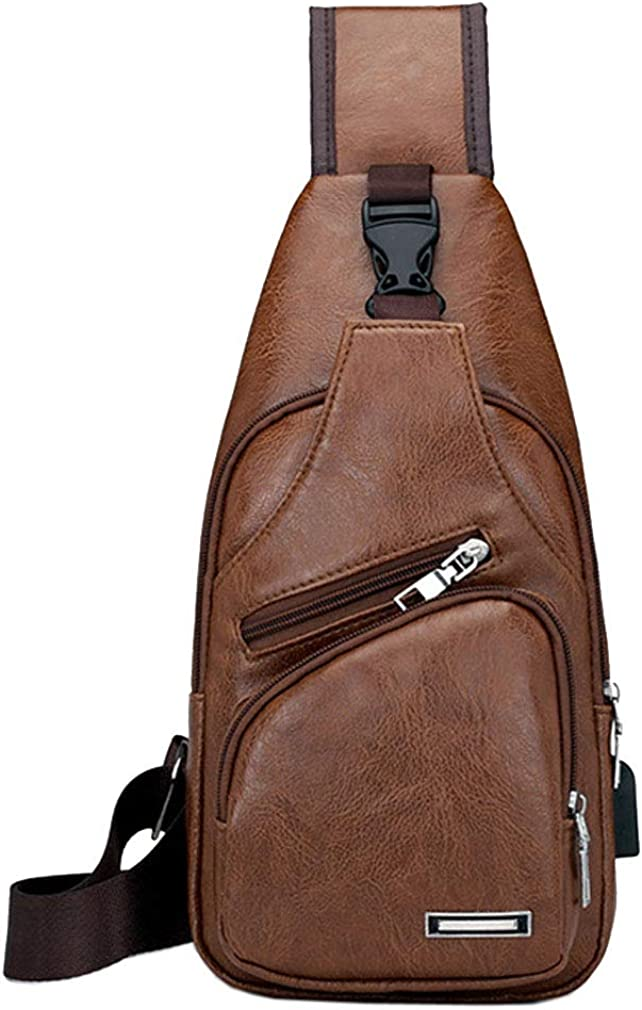 Vintage Leather Sling Bag Backpack for Men Crossbody Shoulder Chest Day Pack Backpacks