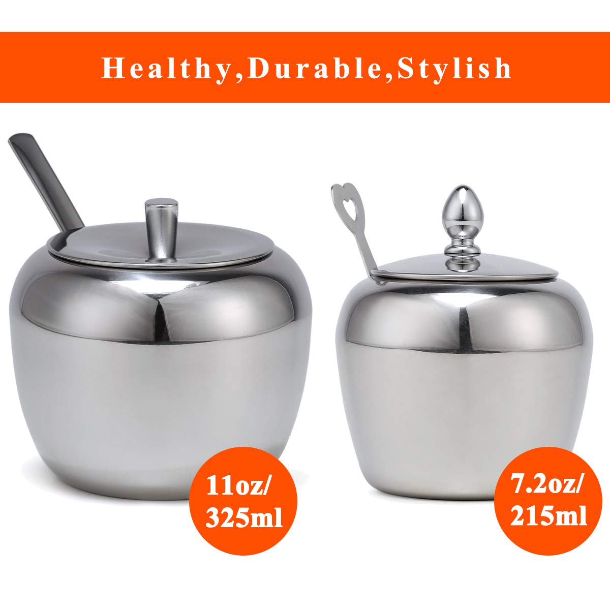 Small Stainless Steel Sugar Bowl with Lid and Spoon in Apple Shape for Kitchen 7.2oz/215ml