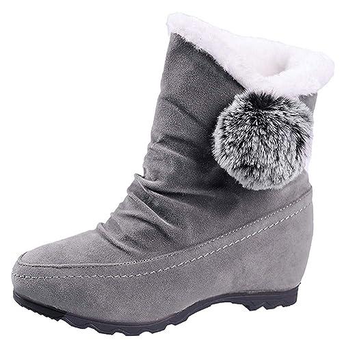 a611a38d849603 Fenverk Frau Wildleder Haarballen Runder Zeh Keile Schuhe Warm SchlüPfen  Schnee Stiefel Damen Sohle Winter Trainer