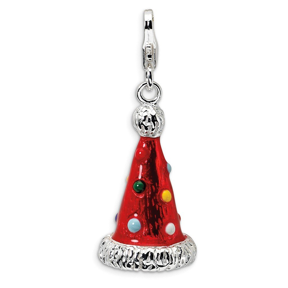 Solid 925 Sterling Silver 3-D Enameled Red Party Hat Pendant Charm 13mm x 44mm