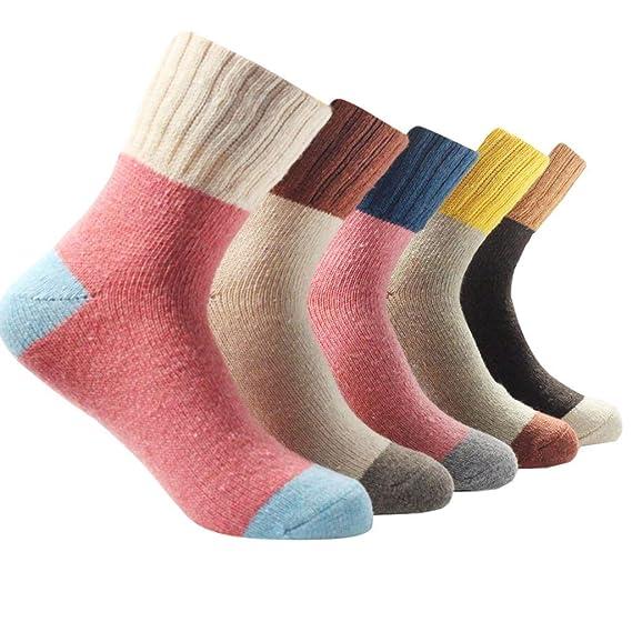 QinMM 5 Pares Calcetines para Mujer niñas Invierno cálidos Calcetines de Lana de la Vendimia señora