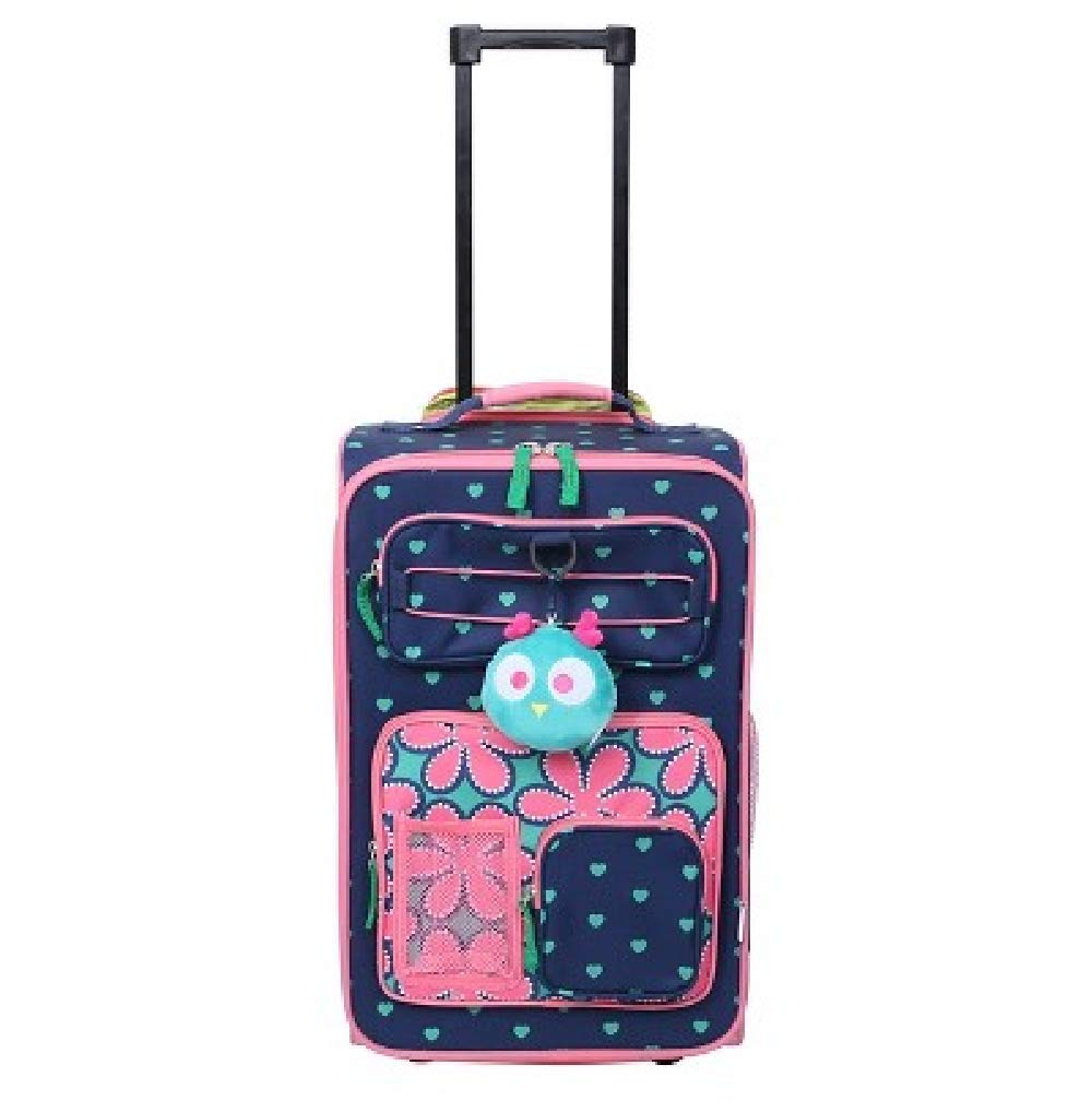 CRCKT 18 Kids Carry On Suitcase Navy with Hearts /& Pink Trim