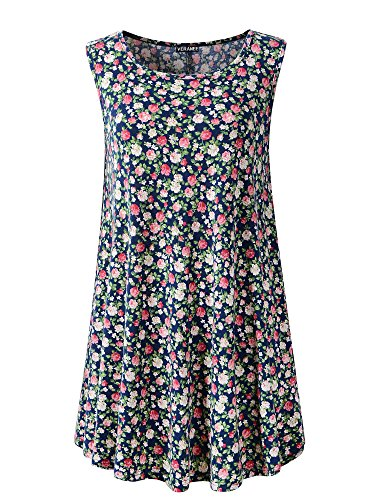Veranee Women's Sleeveless Swing Tunic Summer Floral Flare Tank Top Large 6-4 from Veranee