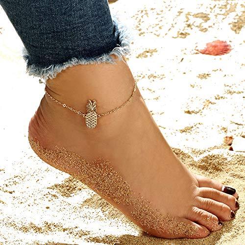 MINGHUA Women Pineapple Anklet Ankle Bracelet Golden Sandals Foot Chain Jewelry