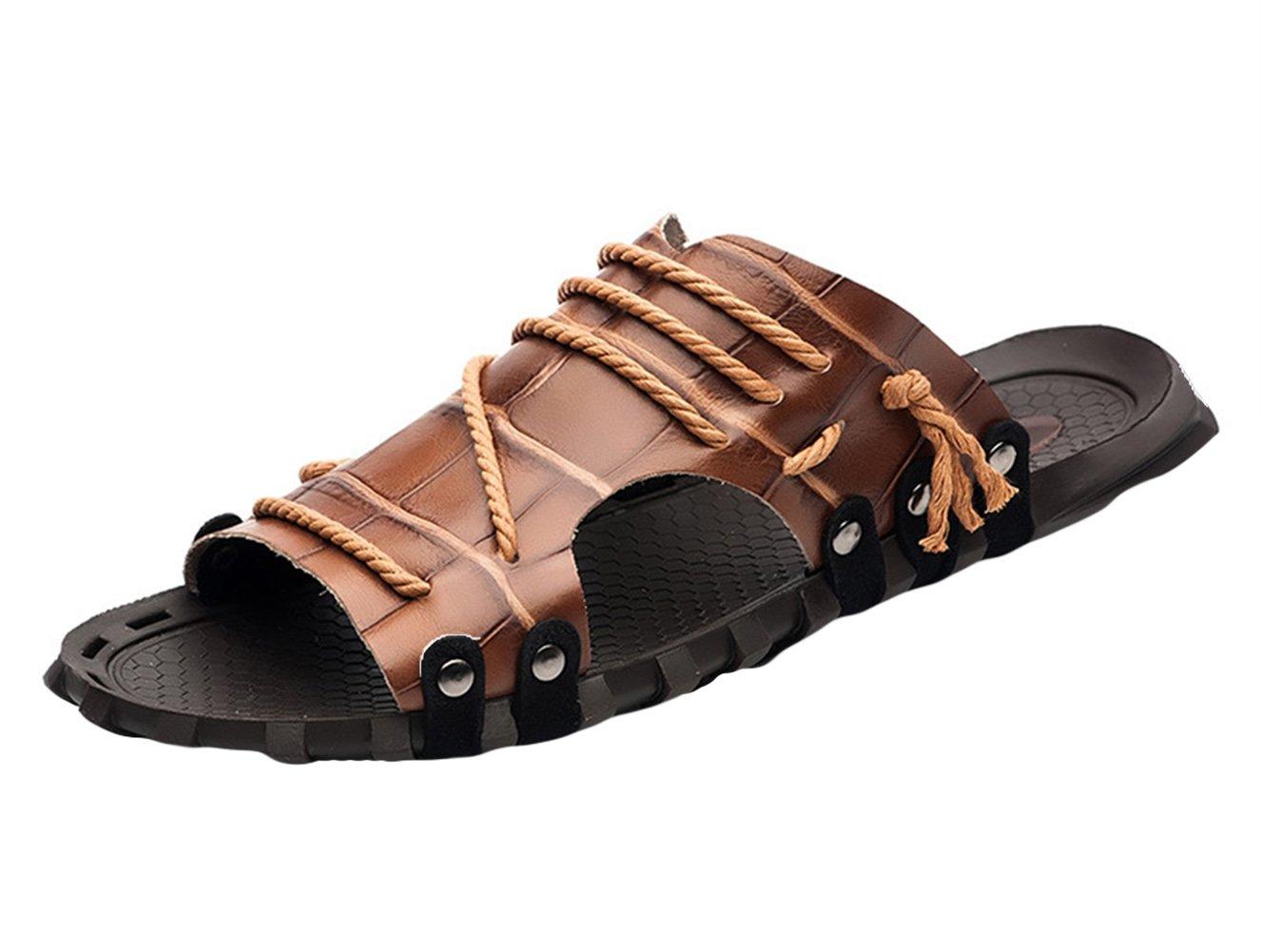 Insun Zapatilla de Cuero Para Hombre Sandalias de Playa 37 EU|Marrón 2