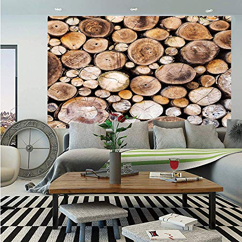 Rustic Wall Mural,Wooden Logs Background Circular Shaped Oak Tree Life and Growth Theme Decorative,Self-Adhesive Large Wallpaper for Home Decor 55x78 inches,Light and Sand Brown