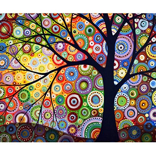 MXJSUA DIY 5D Diamond Painting by Number Kits Full Drill Rhinestone Embroidery Cross Stitch Pictures Arts Craft for Home Wall Decor,Geometric Colored Tree 12x16 inches
