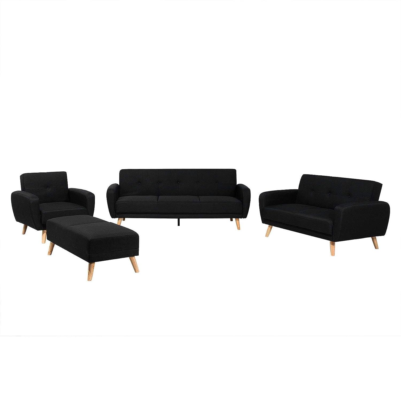 Beliani Conjunto de sofás tapizado para 6 Personas con ...