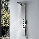 Vantory 63'' SUS 304 Stainless Steel Wall Mount Rainfall Showerhead Multi-Function Shower Tower Panel Massage Systerm With Body Jets, Brushed Nickle