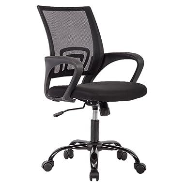 BestOffice OC-H03-Black Chair Desk Ergonomic Swivel Executive Adjustable Task MidBack Computer Stool with Arm in Home-Office 1 Black