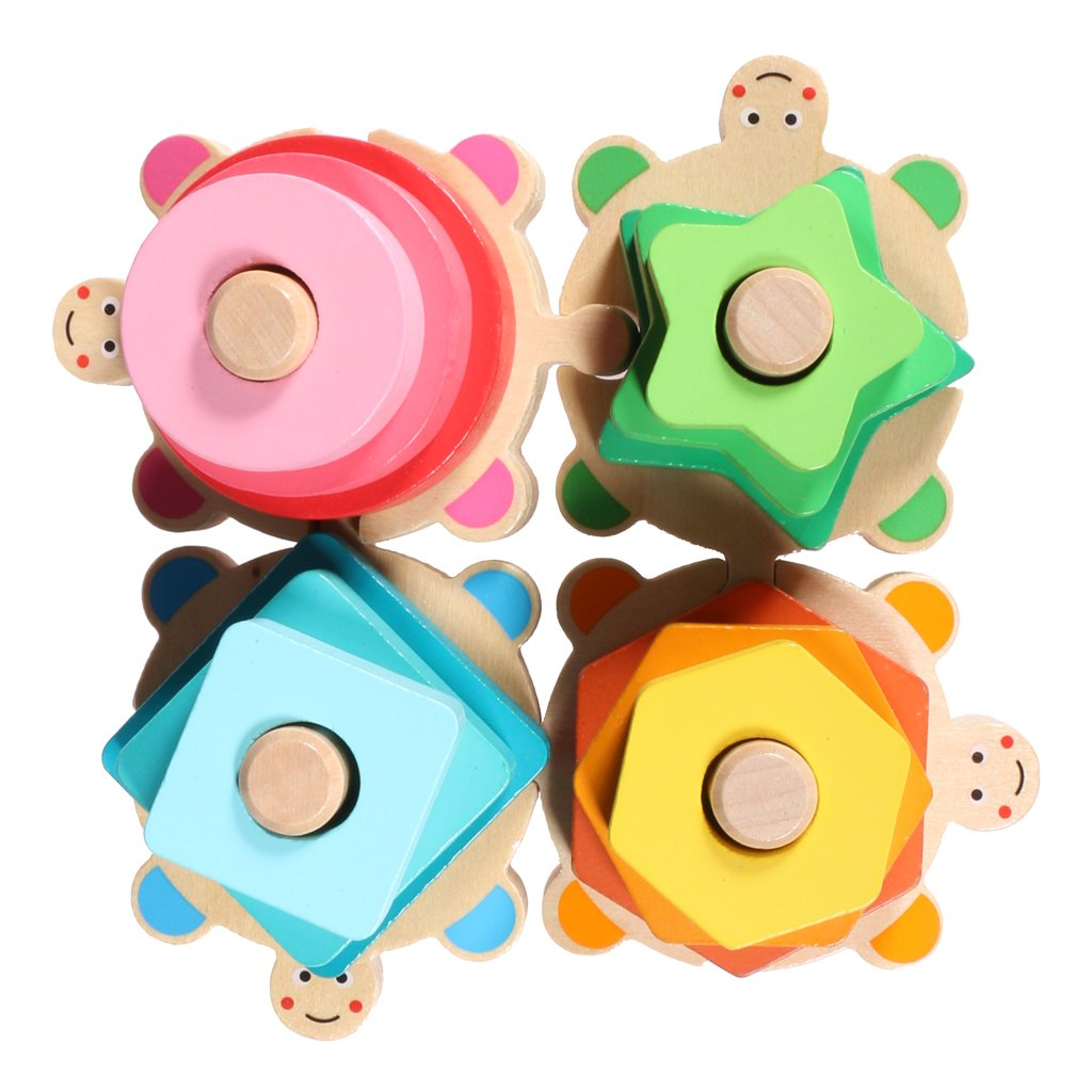 Jili Online Animal Shape Sorter Column Wooden Puzzle Colorful Blocks Baby Toddler Turtle