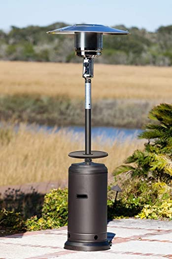 Golden Flame Patio Heater XL-Series Matte-Mocha, 46,000 BTU with Table and Wheels Propane-Gas
