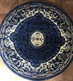 Traditional Round Persian Area Rug Navy Blue Design 101 (7 feet 3 inch X 7 feet 3 inch Navy Blue Round) For Sale