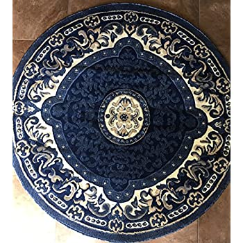 Amazon Com Traditional Round Persian Area Rug Navy Blue