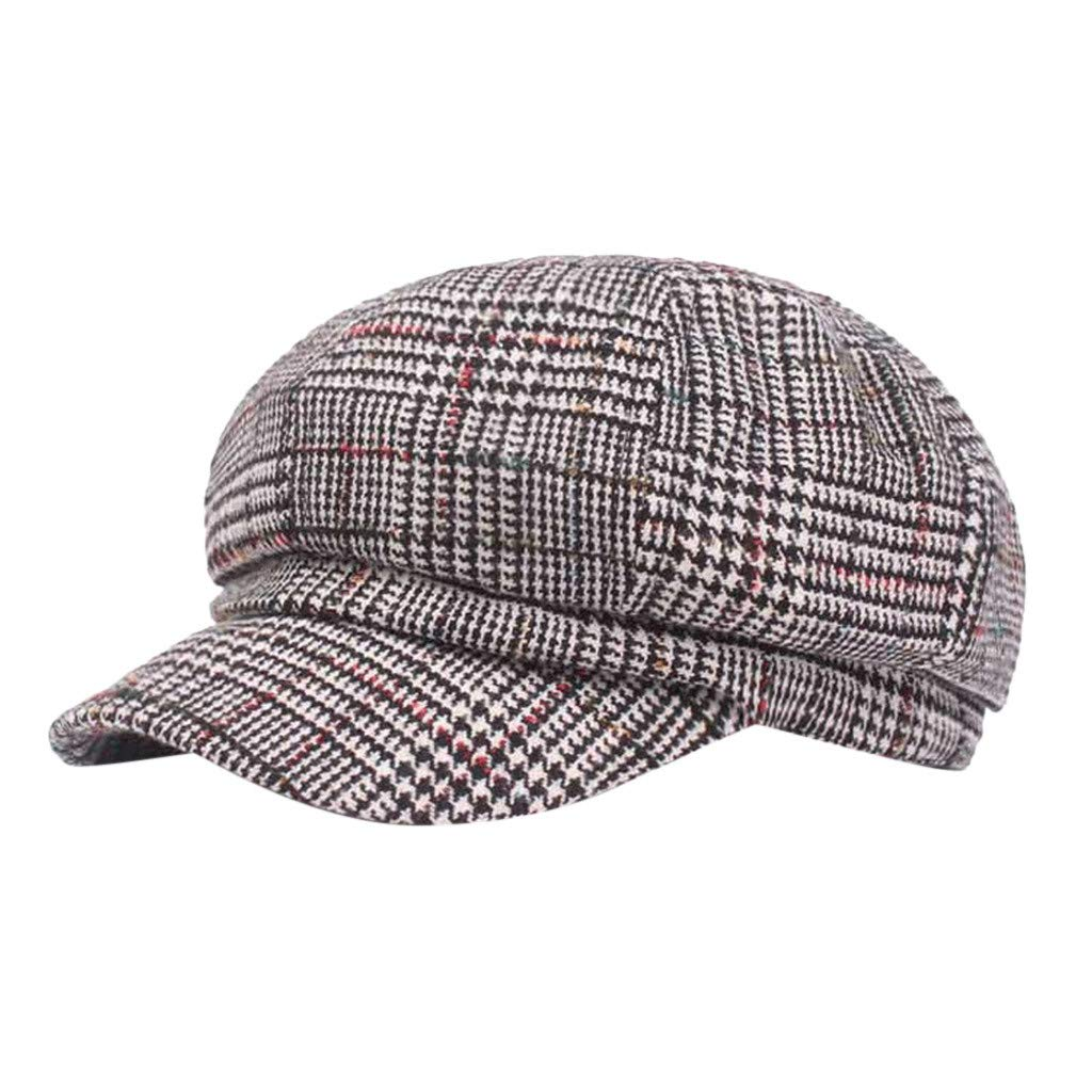 WDM Black Grey Herringbone Classic Newsboy Baker Boy Tweed Flat Cap Mens Gatsby Hat