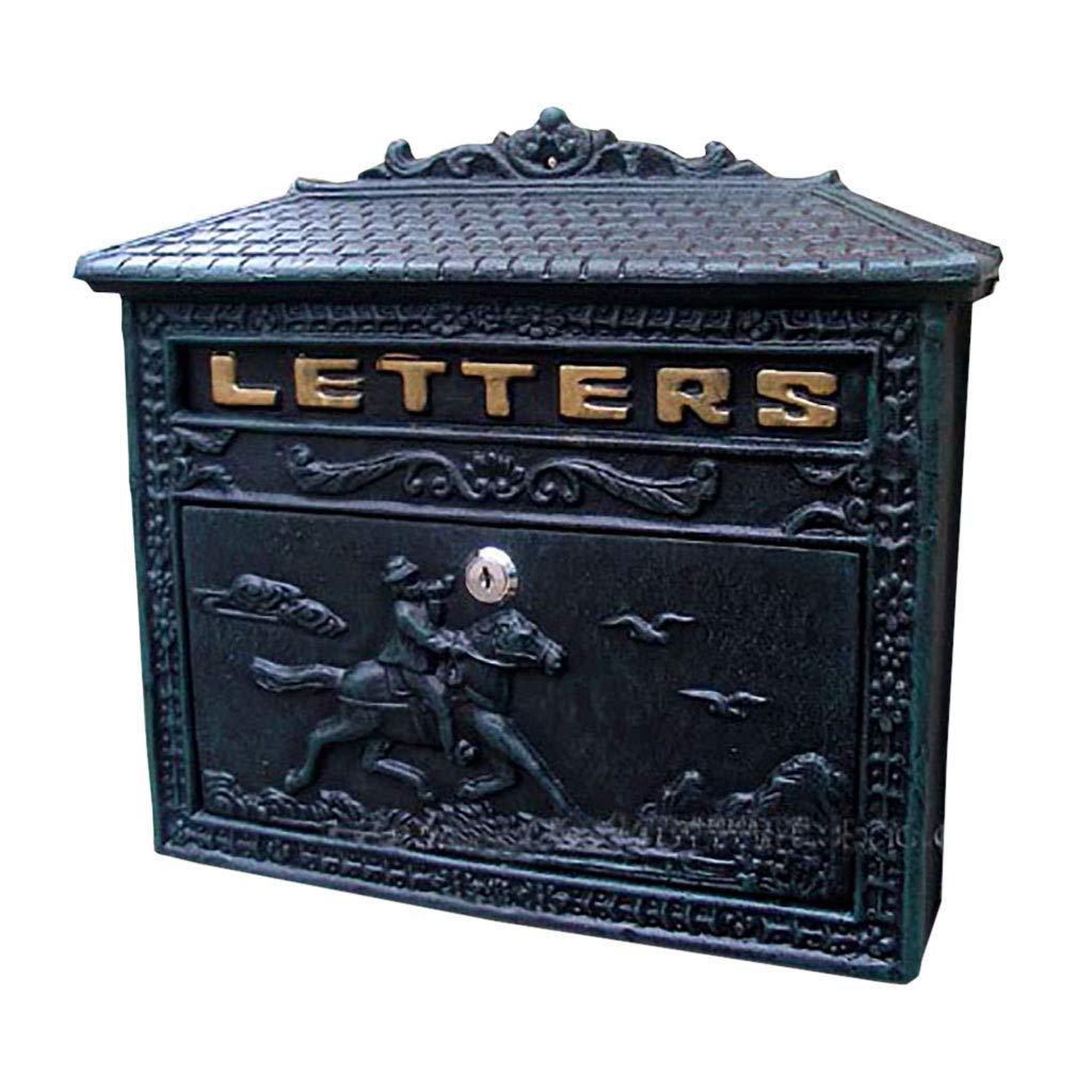 メールボックス鍛造アイアンレターボックス飾り鋳鉄手芸壁掛けレターボックス   B07TV57PK5