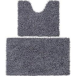 Vdomus Microfiber Bathroom Contour Rugs Combo, Set of 2 Soft Shaggy Non Slip Bath Shower Mat U-Shaped Toilet Floor Rug (Dark Gray)
