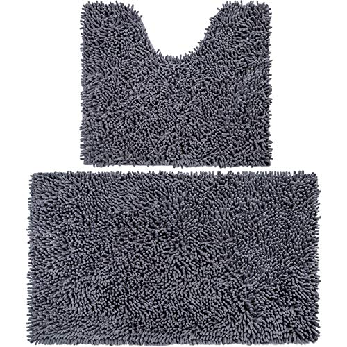 Vdomus Microfiber Bathroom Contour Rugs Combo, Set of 2 Soft