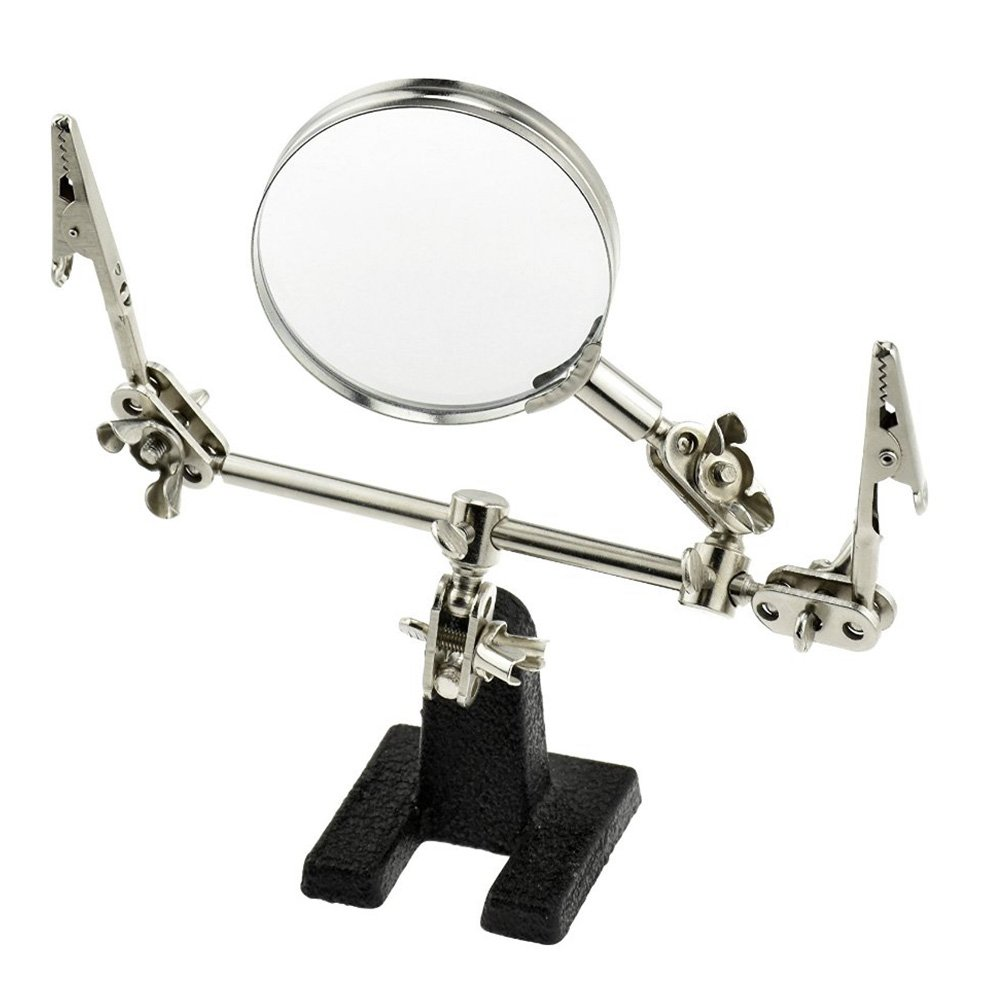 60mm Helping Hand with Glass Magnifier Electrical Circuits Repair Tool Desktop Magnifying Lens Magnifier Alligator Clamp Tool, for Welding Soldering DIY & Repair(Silver+Black)