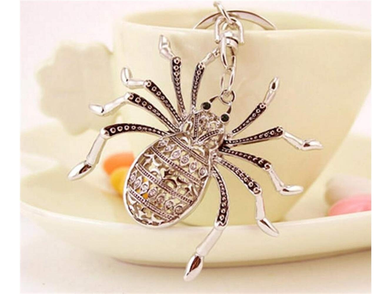 Car Keychain, Exquisite Personality Big Spider Keychain Animal Key Trinket Car Bag Key Holder Decorations(Silver) for Gift by Huasen (Image #5)