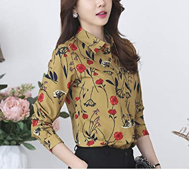 8feb7a704189d2 Thx Style Women s Long Sleeve Collared Button Down Floral Printed Shirt  Blouse Tops(L
