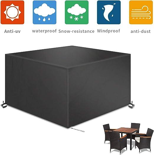 TAOCOCO Funda para Muebles de Jardín Impermeable, protección contra el Polvo y los Rayos UV, Cubierta de Mesa y Silla para Muebles de jardín, Resistente al Agua y sin decoloración, 200x160x70 -Negro: