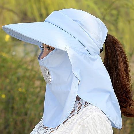 LIANGJUN Sun Hats Summer Women s Breathable Wide Brim Anti-UV Chin Strap  Cover Face Neck 7034ae1d6e