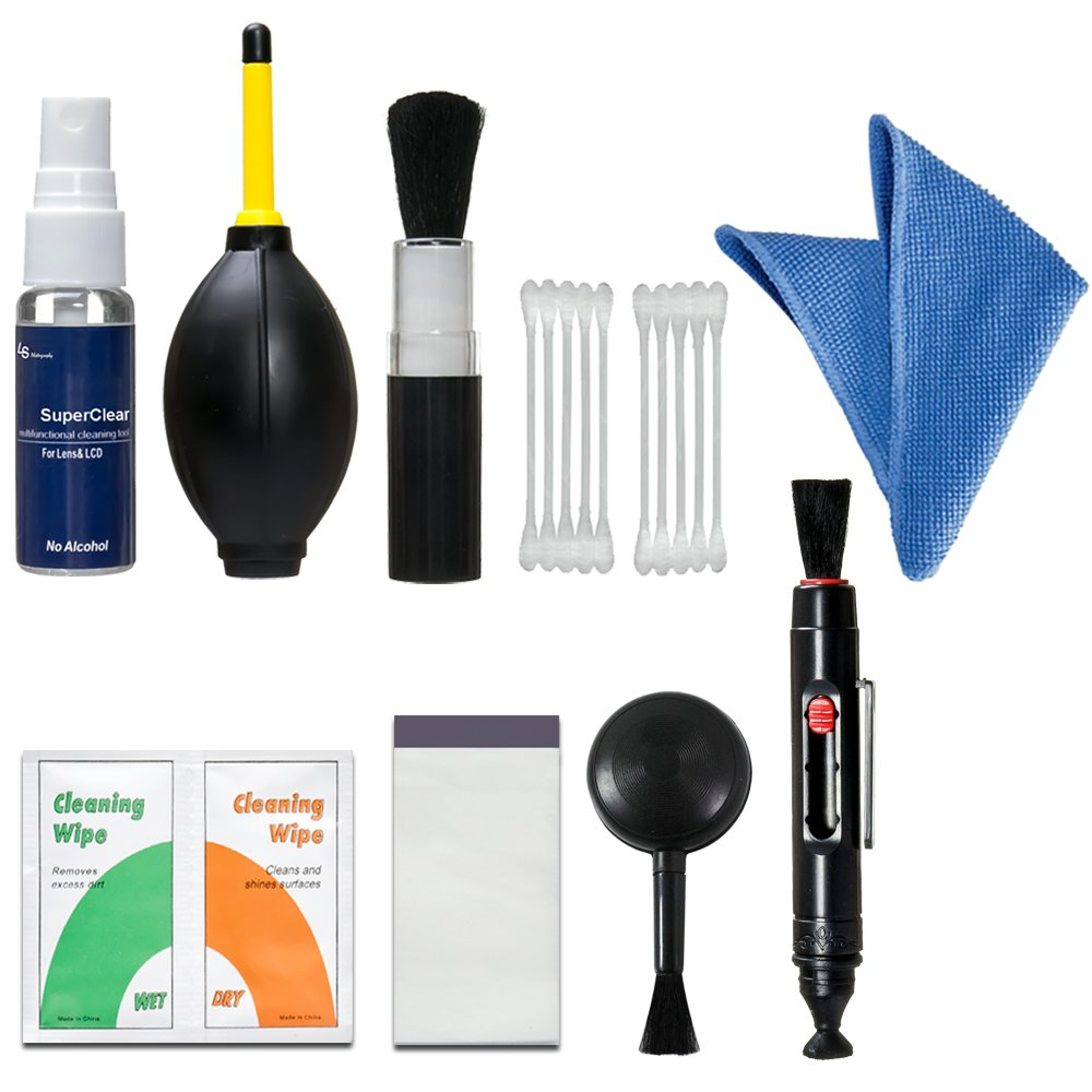LS Photography Camera & Lens Filter Cleaning Kit 7 in 1 Pack Bundle, Carbon Compound Brush Pen, 2 in 1 Air Blower + Brush, Compressed Air Duster, Cotton Swab, Lens Wipe Tissue, Photo Studio, LGG497 by LS Photography