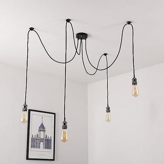 Vintage chandelier light elfeland e27 4 bulbs holder retro vintage chandelier light elfeland e27 4 bulbs holder retro industrial spider ceiling light adjustable pendant mozeypictures Choice Image