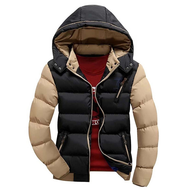 hibote Men Parkas Slim S Thick Clothes Hooded Outwear Jacket Warm Coat Black 2XL