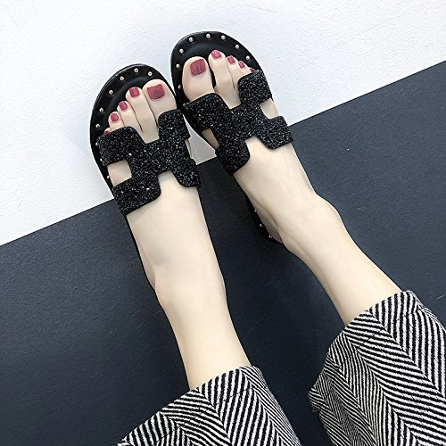 Summer Wear Version Ladies Black Outside Fashion Slippers Cool Word Drill women One Of WHLShoes Korean slippers Water FqwXFB