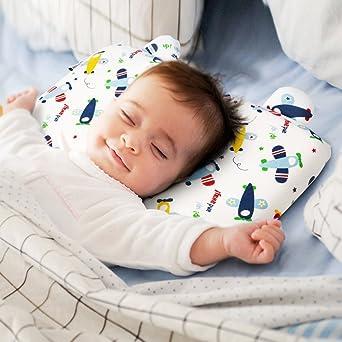 LITTER TREE-Almohada Niños Ortopédica para Bebés prevenir la cabeza plana almohada de espuma de memoria(Aeronave)
