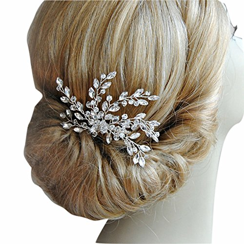 Missgrace Women's Wedding Hair Combs - Bridal Hair Accessories Head Piece Vintage Wedding Pearls Crystal Hair Combs (silver)