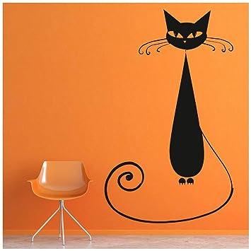 azutura Gato negro Vinilos Gatos de casa Pegatina Decorativos Pared Niños Halloween Decoración del hogar disponible en 5 tamaños y 25 colores X-Grande Musgo ...